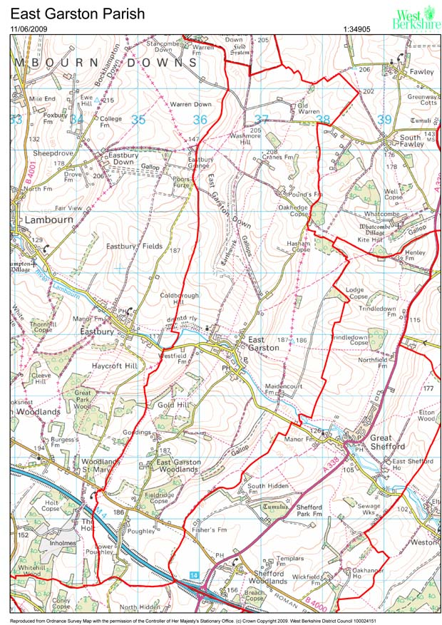 image of map of East Garston Parish
